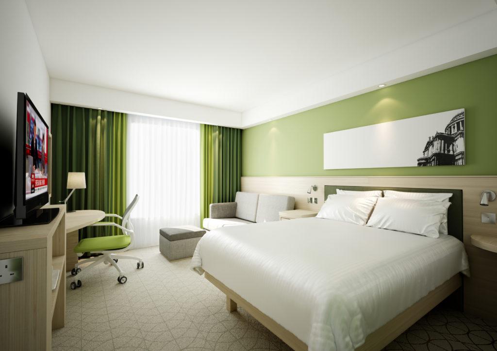 Standardzimmer im neu eröffnete Hampton by Hilton Nürnberg City Centre