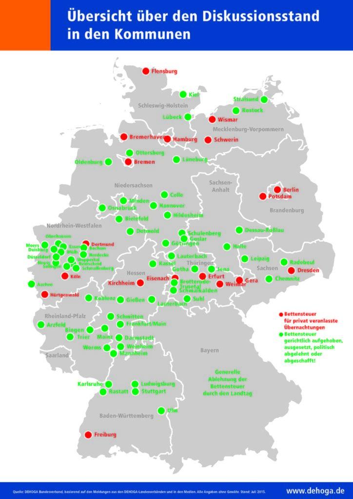 Bettensteuer - Übersichtskarte des Dehoga-Bundesverbandes - Stand: Juli 2015