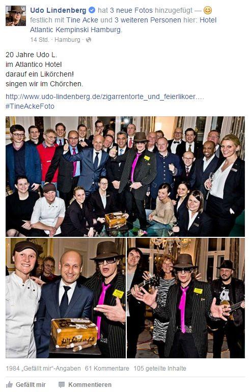 Udo Lindenberg 20 Jahre im Hotel Atlantic Kempinski Hamburg - Screenshot: Udo Lindenberg/Facebook
