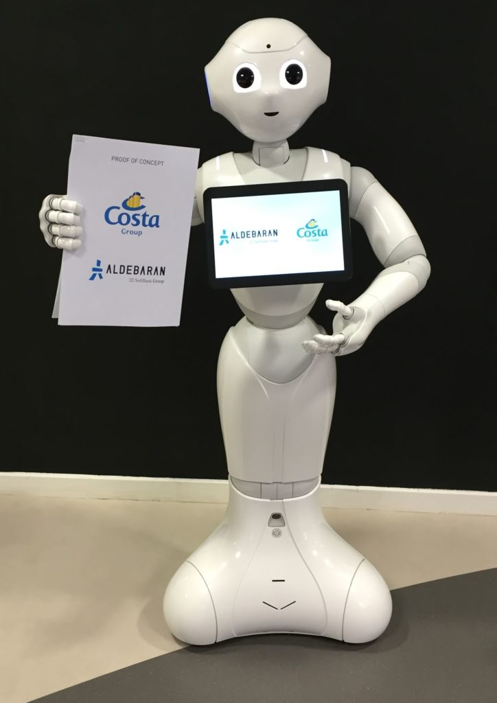 """""""Pepper"""" ist der der neue Roboter-Butler an Bord der Aida- und Costa-Kreuzfahrtschiffe / Foto: Aida Cruises/Aldebaran"""