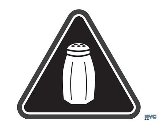 Warnung vor zuviel Salz in den Speisen - Neues Warnschild für Restaurants (Grafik: NYC Health Department)
