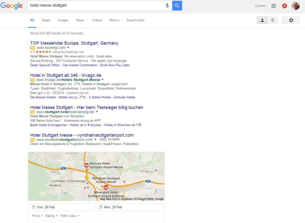 Google Suche ohne Adwords recht - Screenshot: google.de