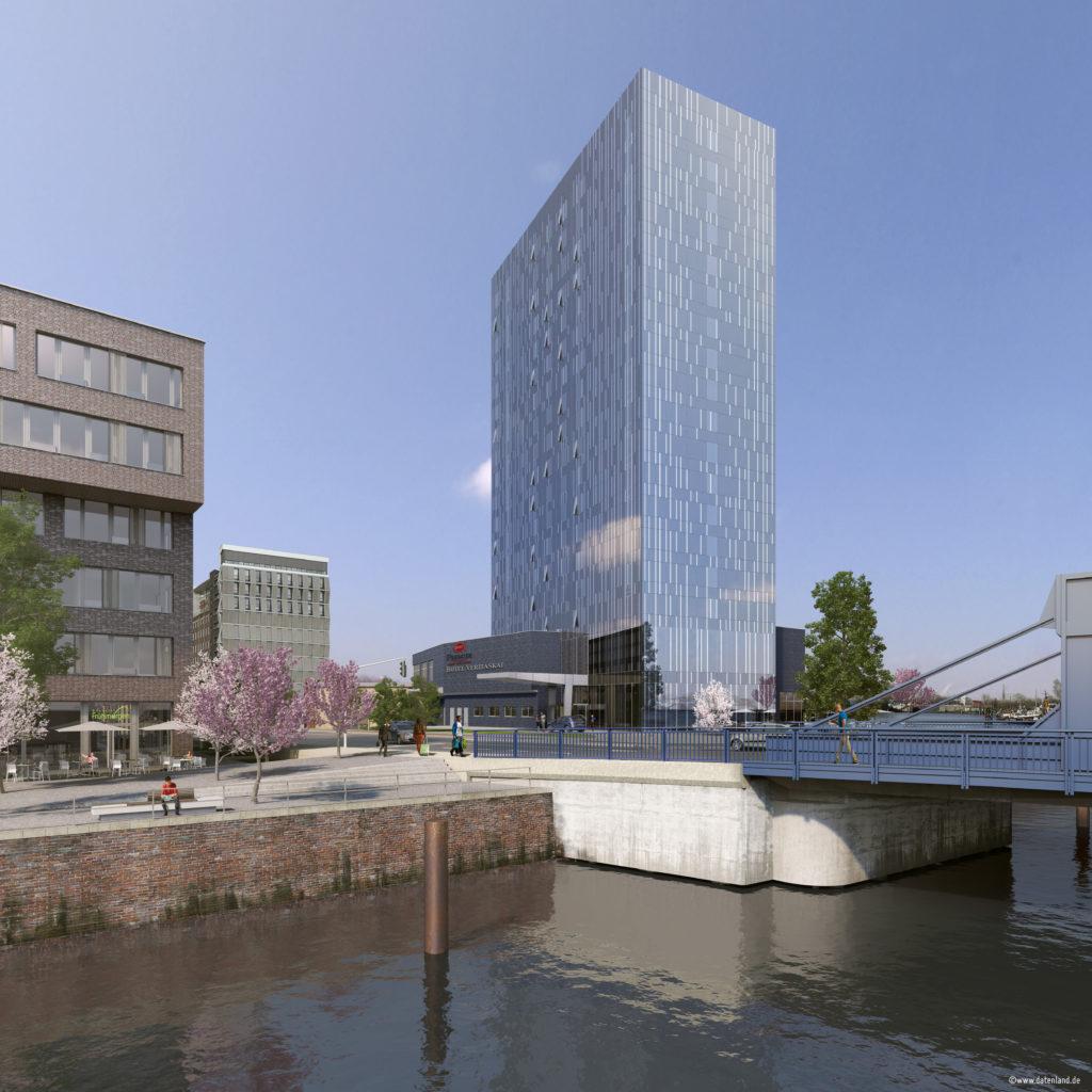 Neues Best Western Premier Hotel am Veritaskai in Hamburg-Harburg - Eröffnung ist 2018 (Grafik: Lorenz-Gruppe)