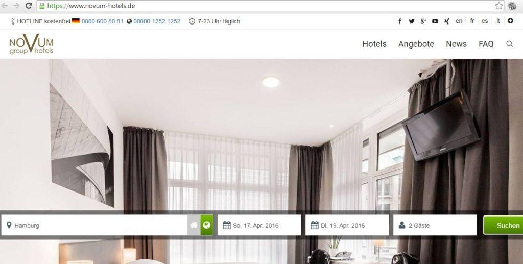 Novum Hotels setzt seit Jahren auf Https-Verschlüsselung bei Zimmerbuchung (Screenshot: novumhotels.de)