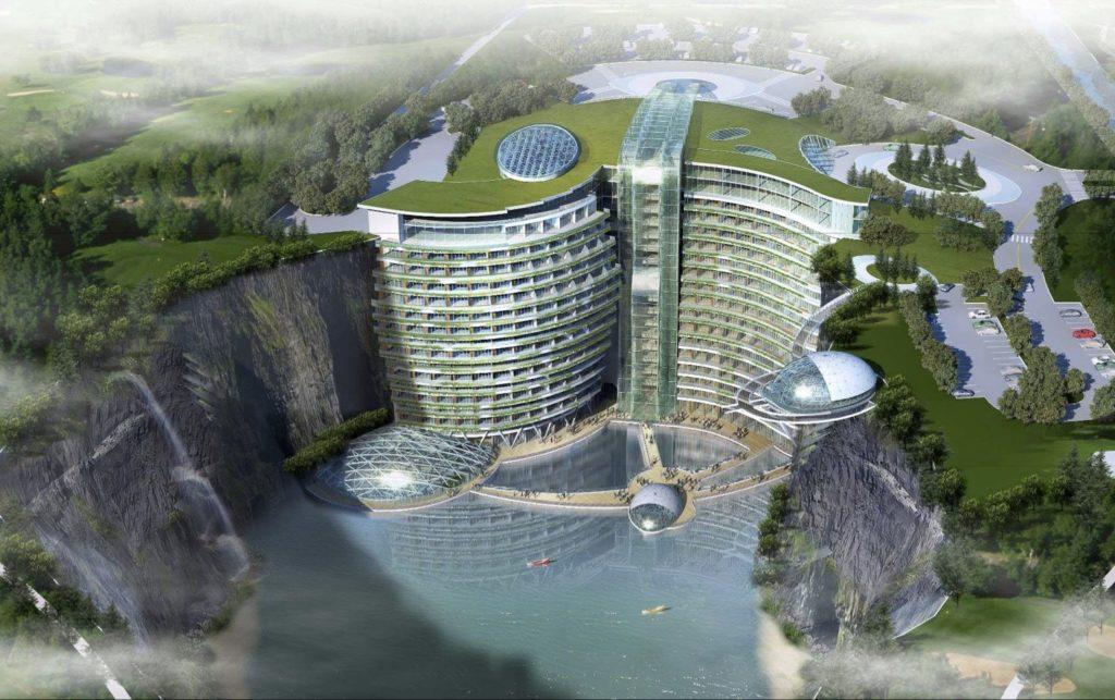 InterContinental Songjiang quarry Hotel – gebaut in einen Steinbruch (Grafik: IHG)