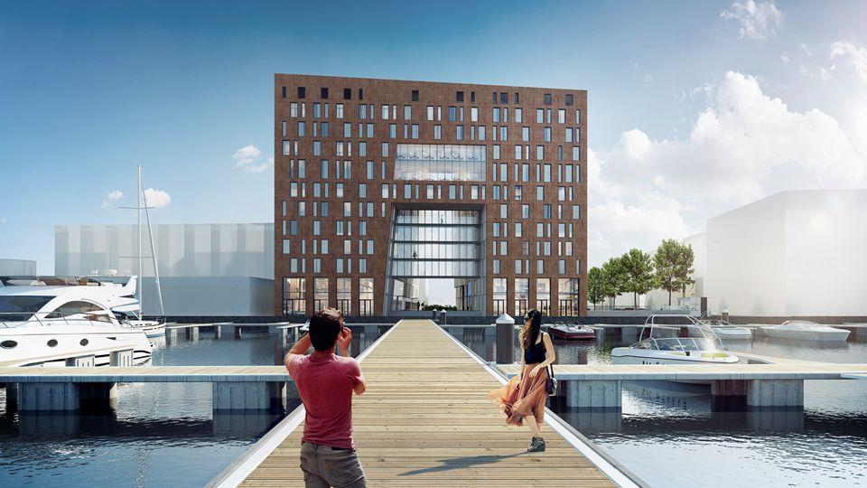 Geplantes Novum Hotel am Hafen von Amsterdam – Eröffnung ist 2019 (Grafik: Novum Hotels)