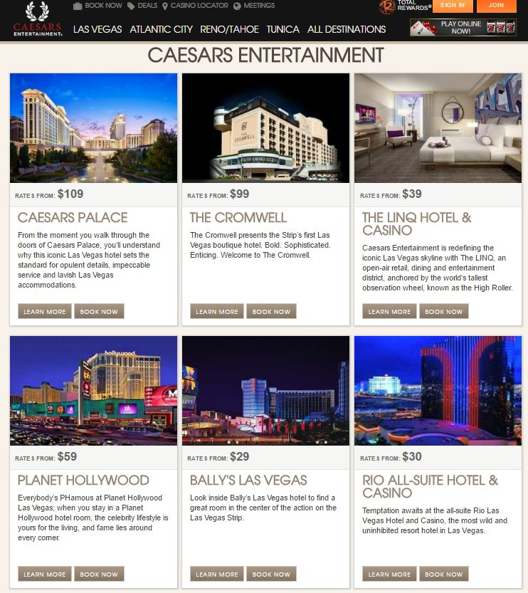 Caesars Entertainment - Niedrige Zimmerraten