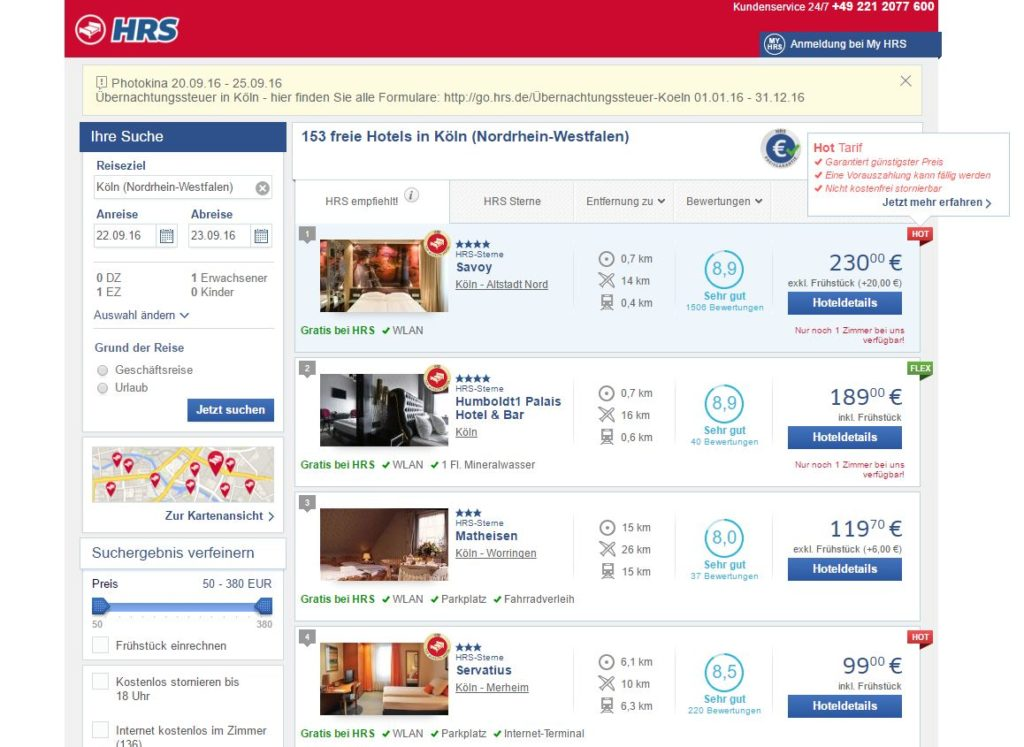 Wer bei HRS ein Hotel sucht, bekommt stets das Hotel Savoy auf Platz 1 serviert - das gehört zur HRS-Gründerfamilie ... (Screenshot: hrs.de/22.09.2016)