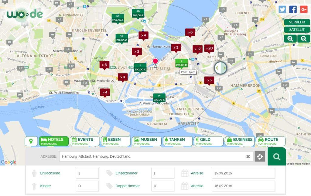 Hotelsuche bei wo.de - Buchungen sind bislang nur über OTA möglich