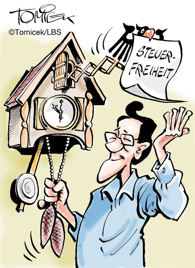 Steuerfrei - Karikatur: Tomicek/LBS