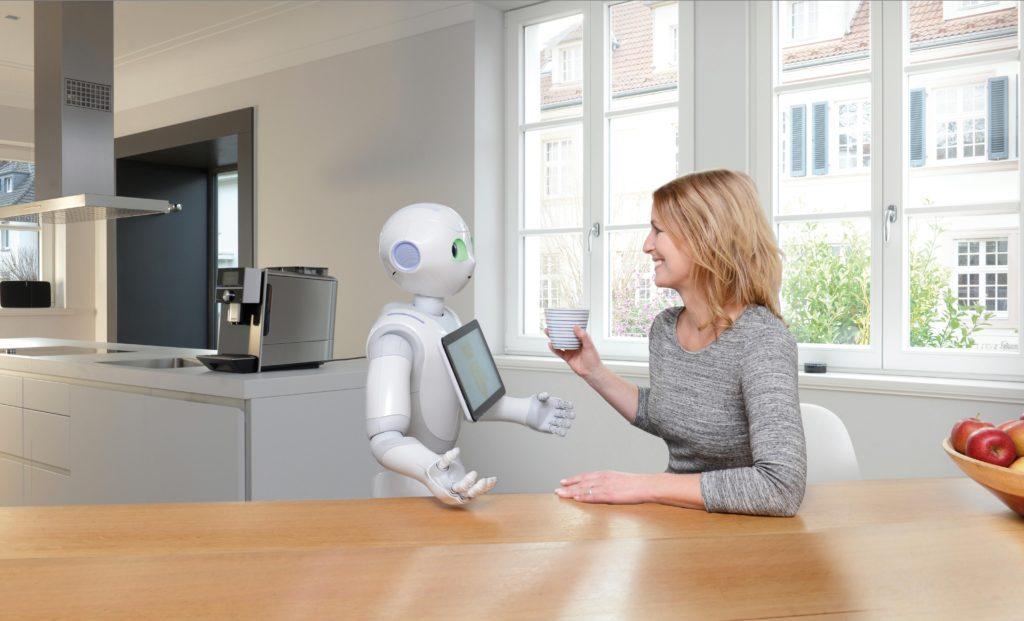 Ein Roboter, der den Kaffee zubereitet und serviert? Der in der Lage ist, die Geräte im Smart Hotel zu steuern? Und mit dem man ganz einfach und auf natürliche Weise kommunizieren kann? Das will Digital Strom, auf der CES Anfang Januar in Las Vegas zeigen. (Foto: Digital Strom)