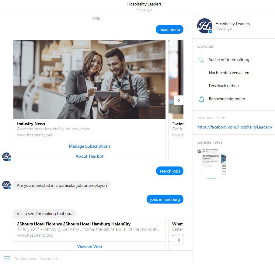 Hospitality Leader startet Chatbot zur Jobsuche
